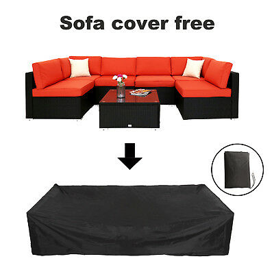 7 Pcs Wicker Sofa Set W/ Rain Cover Sectional Couch Waterproof Protector Cover