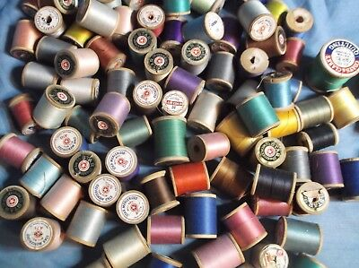 Vintage Sewing Thread Lot 105 Wooden Spool