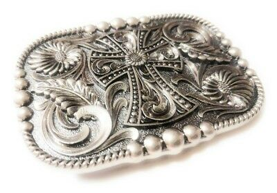 REC1 ✖ WESTERN STEER Cross Cowboy Rodeo Style ✖ Belt Buckle Buck ✖ Silver color