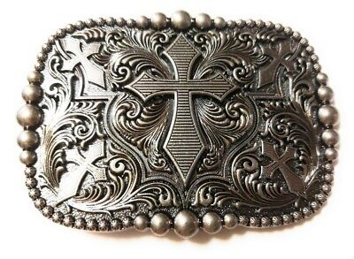 REC3 ✖ WESTERN STEER Cross Cowboy Rodeo Style ✖ Belt Buckle Buck ✖ Silver color