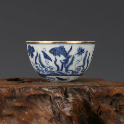"3"" China old Antique Porcelain Ming chenghua blue & white waterweeds Cup"