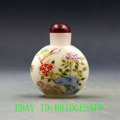 Antique Chinese Glass Hand-painted Bird & Peony Snuff Bottles  B70