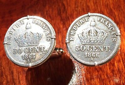 Antique Silver 1865-66 Napoleon III French Imperial Crowns France Coin Cufflinks