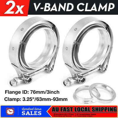 """2x 3"""" V BAND CLAMP & FLANGE KIT Stainless Steel Turbo Downpipe Exhaust Clamp"""