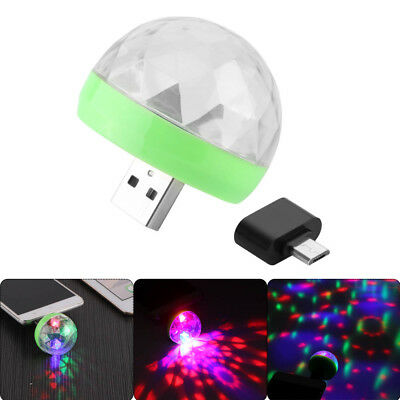 Mini USB Powered Mini LED Light Disco Ball Light Rotating RGB Stage Light Bulb