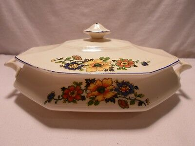 Vintage Sebring Ohio Pottery Soup Tereen Bright Flowers