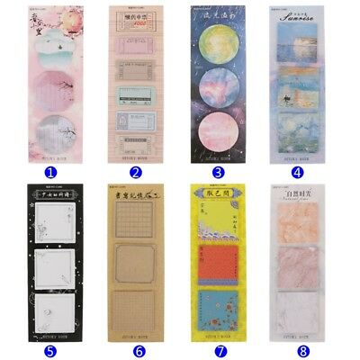 Memo Pads Sticky Notes Vintage Paper Notepad Stickers School Office Stationery