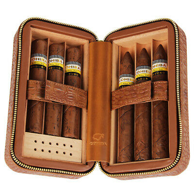 COHIBA Brown Leather Spanish Cedar Lined Cigar Travel Case Humidor 6 Count