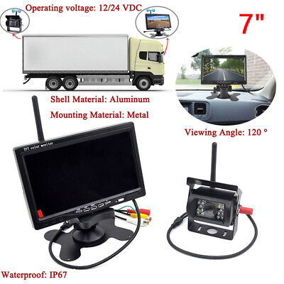 "Wireless IR View Back up Camera Night Vision System 7"" Monitor for RV Truck IP67"