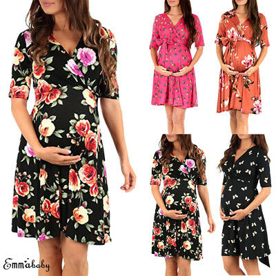 Nursing Pregnant Women Summer Wrap Maternity Dress Breastfeeding Casual Dress