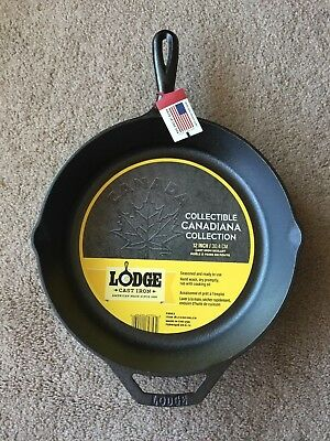Lodge Canadiana cast iron skillet Maple leaf design LIMITED EDITION COLLECTION