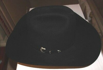 df9f832e9da52 SERRATELLI MEN S BLACK 6X Fur Felt Latigo Cowboy Hat 6XLATIS5BK-75 8 ...