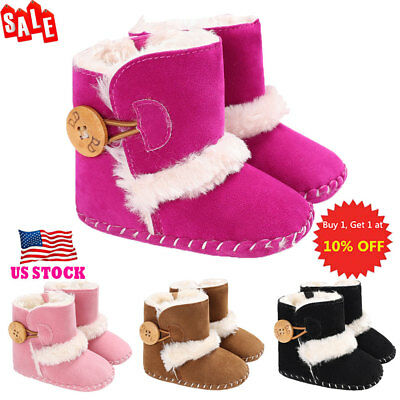 Baby Kids Toddlers Winter Warm Fluffy Buckle Snow Boots Casual Ankle Boots Shoes