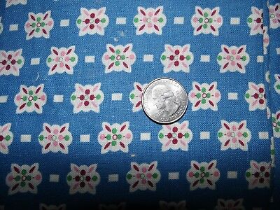 Full Feedsack Feed Sack Vintage  Quilt Fabric Blue With Pink Green Floral