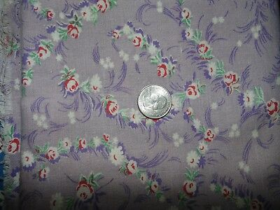"Novelty Full Feedsack Feed Sack Vintage Quilt Fabric Roses On Lavender 56""x38"""