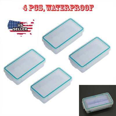 4pcs Waterproof Battery Storage Case Holder Organizer for 18650/CR123A Battery
