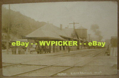 Sistersville, WV. Tyler Co. RPPC. RR DEPOT View. c.1910. Real Photo. RARE !! NoR