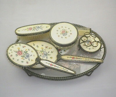 Vintage Petit Point Vanity Set - 7 Piece