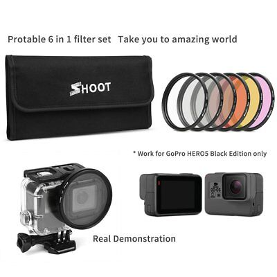 6 In 1 Sport Camera Filter Set Diving UV Yellow Red Filter for Gopro Hero 6/5~a1