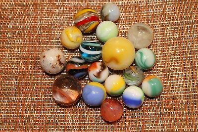18 Mostly Vintage Handmade And Machine-Made Marbles