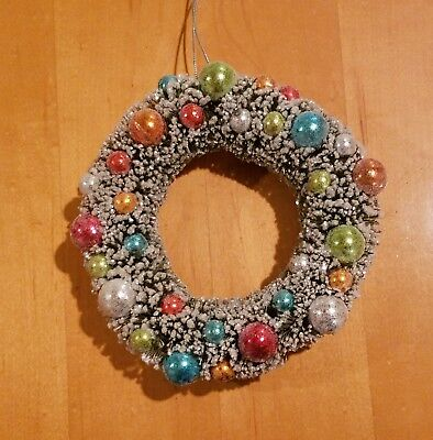 """Vintage Christmas Flocked Bottle Brush Wreath 9"""" With Glass Ornaments"""