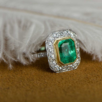 Certified 14K White Gold 2Ct Fancy Vintage Art Deco Green Emerald Wedding Ring