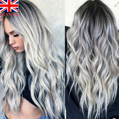 UK Women Synthetic Front Wigs Curly Wavy Hair Ombre Wig Gradient Grey Cosplay