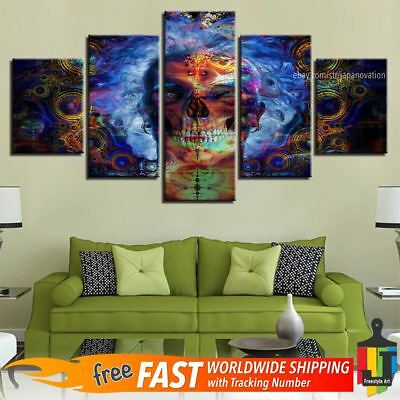 5 Piece Home Decor Canvas Print Wall Art Abstract Colorful Skull Painting Poster