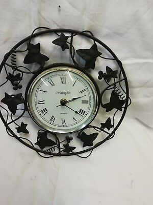 Black Wire Leaf Design Wall Clock Made By Wellinton With Quartz Movement