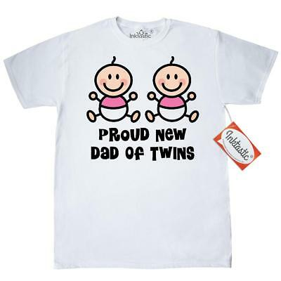 3f4d663a Inktastic Dad Of Twin Girls T-Shirt Twins Fathers Day New Having Mens Adult  Tees