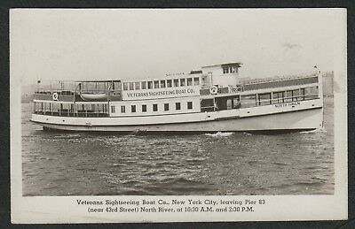 """e2230)   VINTAGE RP PC - VETERANS SIGHTSEEING BOAT CO """"NORTH HAVEN"""" NEW YORK USA"""
