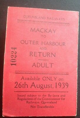 Souvenir Rail ticket 1939 - opening of Mackay Harbour - numbered ticket