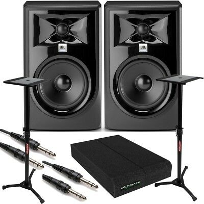 JBL 305P MkII BUNDLE Powered Studio Monitor PAIR w/ Pads + TRS Cables + Stands