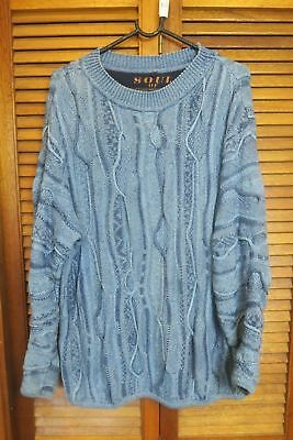Soul of Australia Coogi Style Sweater Blue Jumper Size Small Biggie HipHop Cosby