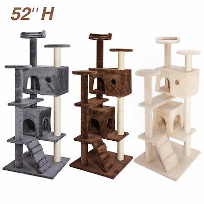 "52"" Pet Cat Tree Tower Condo Furniture Scratching Post Toy Kitty Bed Play House"