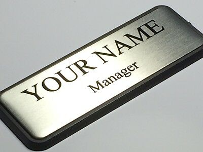 CUSTOMIZED Silver Metal NAME BADGE Text with Logo & MAGNETIC ATTACHMENT