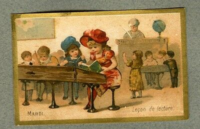 Chromo Epicerie Toulouse Mardi ecole lecture Tuesday School Reading trade card
