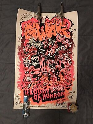 GWAR Bloody Tour Of Horror 2010 Signed Numbered 118/500 Joe Simko Tour Poster.