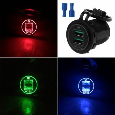 Dual USB Quick Charge 3.0 LED Fast Charger for 12V/24V Car Boat Motorcycle SUV