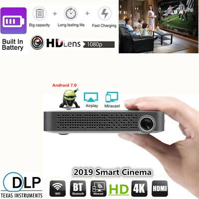 Mini Pocket 5500 Lumens 4K Android Cinema Wifi DLP 3D Home Theater Projector UK