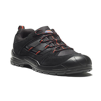 Dickies Everyday Safety Work Trainer Shoes Black & Red (Sizes 3-14) Men's Boots
