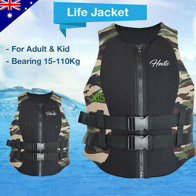 Adults Kids Life Jacket Premium Neoprene Life Vest Water Ski Wakeboard PFD S-XXL