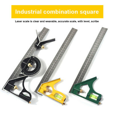 300MM Carpenter Tools Combination Square Angle Ruler Stainless Steel Protractor