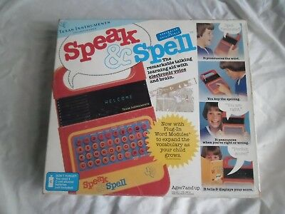 Vintage Texas Instruments Speak And & Spell Classic Toy Game Boxed Instructions