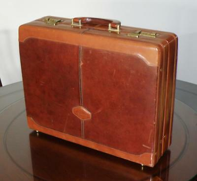 Vintage 1970s Picard Executive 2 Tone Brown Leather Briefcase, Made in Germany