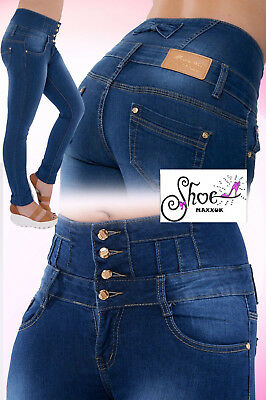 *SALE* Ladies High Waisted Blue Skinny Fit Jeans Stretch Denim Jegging Size 6-12