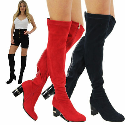 New Women's Girls Over The Knee High Ladies Long Faux Suede Diamante Boots Sizes