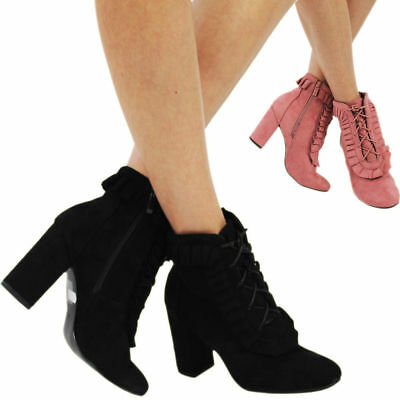 New UK Women's Block  Heels  Zip Faux Suede Ankle Girls Lace Up  Boots Shoes 3-8