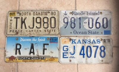 4 Road Kill  Number Plates From Different American States (2)