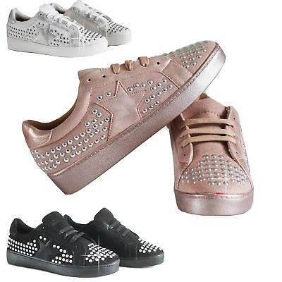 UK Ladies Women's Shiny Sneakers Casual  Flats Trainers Pumps Cool Trendy Shoes